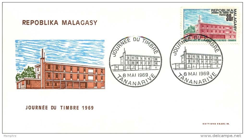 1969  Institut National Des Télécommunications Et Des Postes  - Journée Du Timbre  FDC - Madagaskar (1960-...)