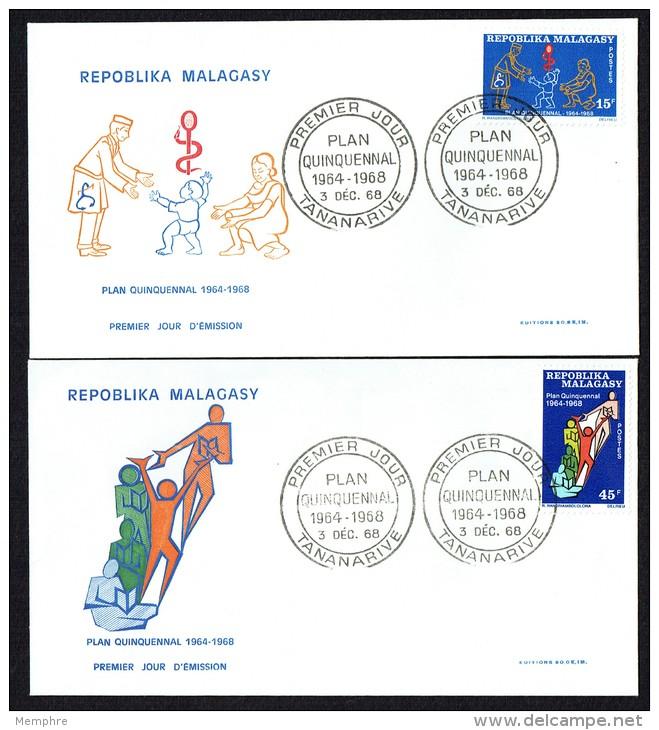 1968  Plan Quinquennal  Série Complète Sur 2 FDC - Madagaskar (1960-...)