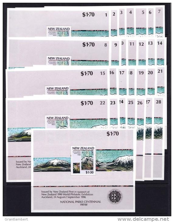 New Zealand 1990 Parks Centennial $1.70 MS Numbered Set Of 28 MNH - New Zealand