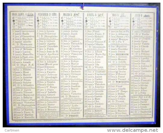 CALENDRIERS DES POSTES PTT  1918 ORIGINAL DEPARTEMENT ? SANS ILLLUSTRATION - Calendari