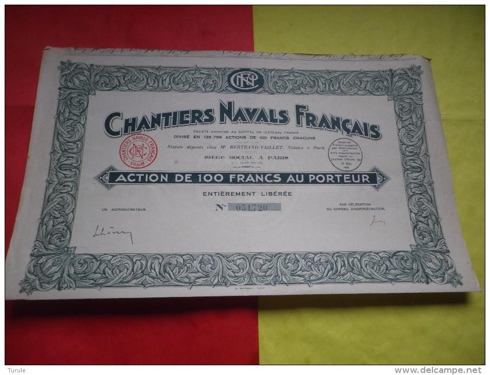 CHANTIERS NAVALS FRANCAIS (action 100 Francs) - Shareholdings