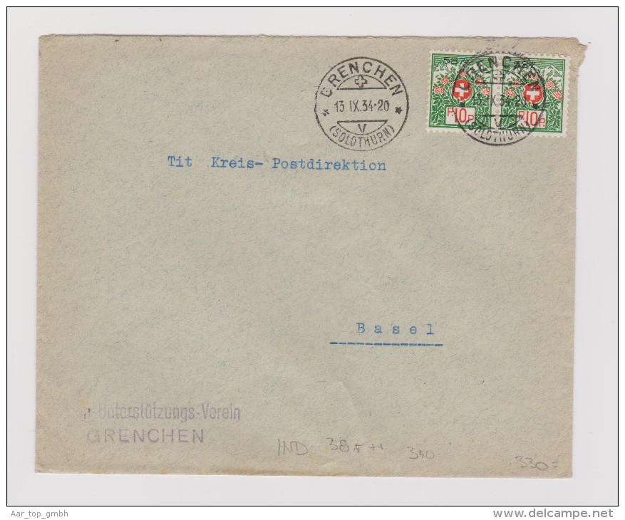 Heimat SO Grenchen 1934-09-13 Brief Portofreiheit #537 Armen-U - Franchise