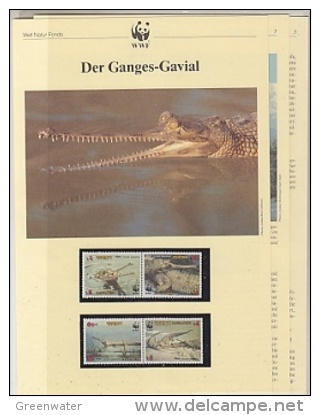 Bangladesh 1990   WWF /  Ganges - Gavial  4v ** Mnh With 3 Leaflets With Information About The Issue (W546) - Unused Stamps