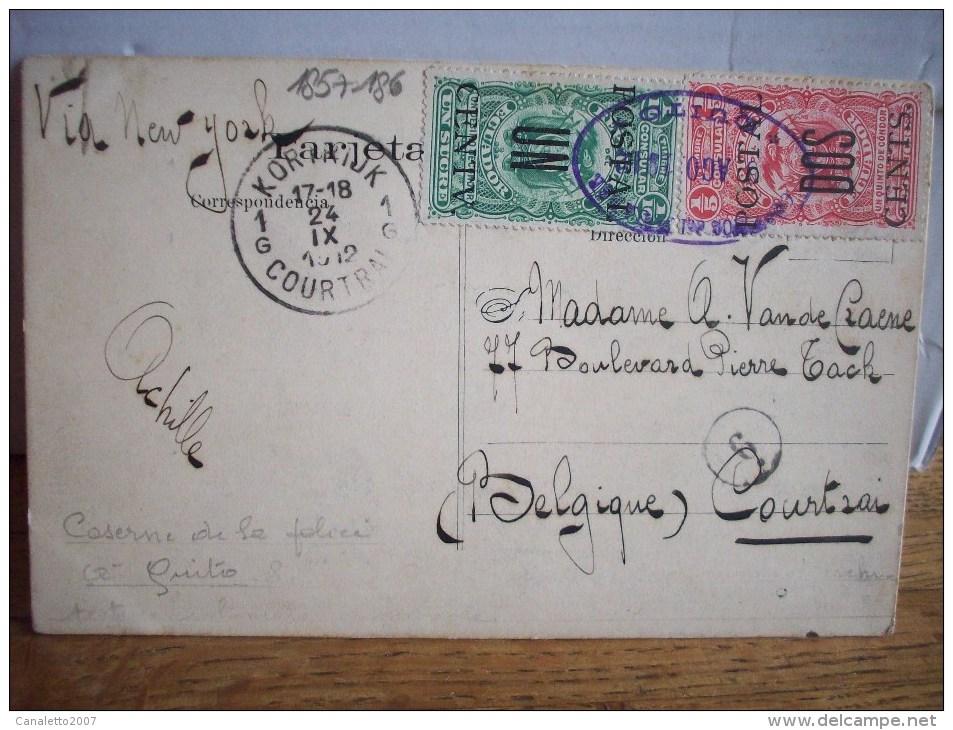 EQUATEUR: QUITO -CUARTEL DE POLICIA AVEC TIMBRE N° 185+186 D´EQUATEUR VERS COURTRAI-OBLITERATION-1912 - Ecuador