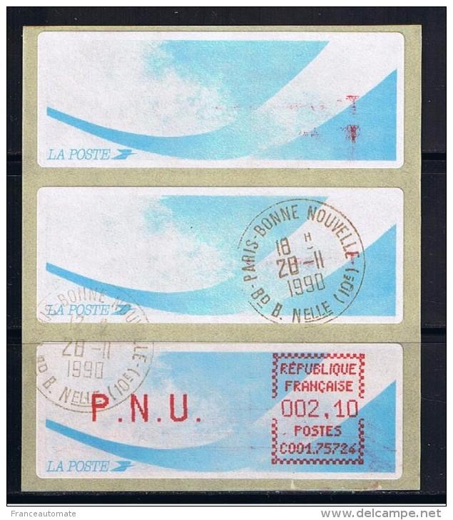 ATMS,  OBLITERE, LSA, CROUZET, PAPIER COMETE, PNU 2.10, BUREAU DE PARIS BONNE NOUVELLE, C001 75724. - 1981-84 LS & LSA Prototypes
