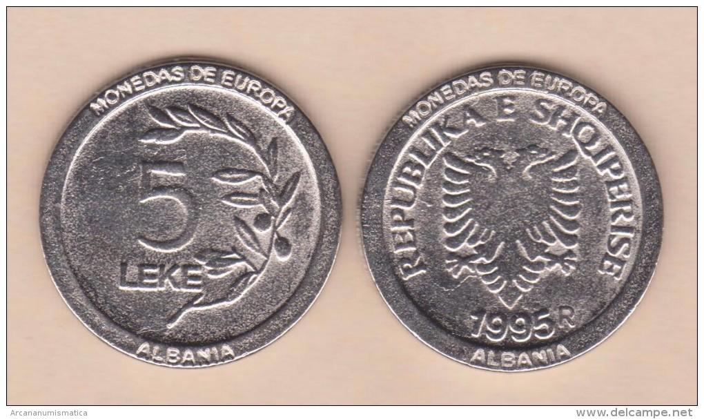 """ALBANIA - 5 LEKE 1.995 KM#76 Colección """"MONEDAS DE EUROPA""""  SC/UNC  Réplica  T-DL-11.481 - Albanie"""