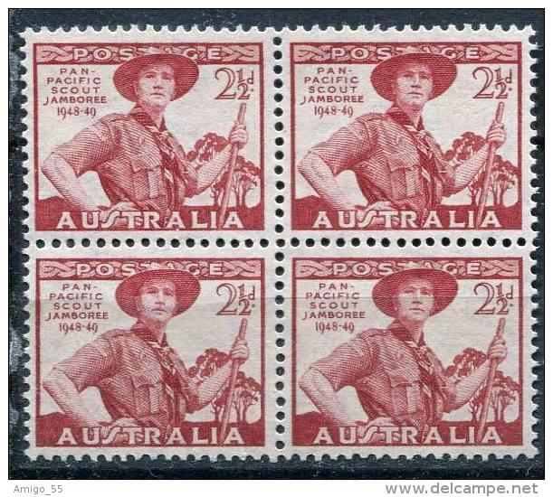 AUSTRALIA 1948, Pan-Pacific Scout Jamboree, Wonga Park, 2 1/2d, Block Of 4, MNH (**) - Mint Stamps