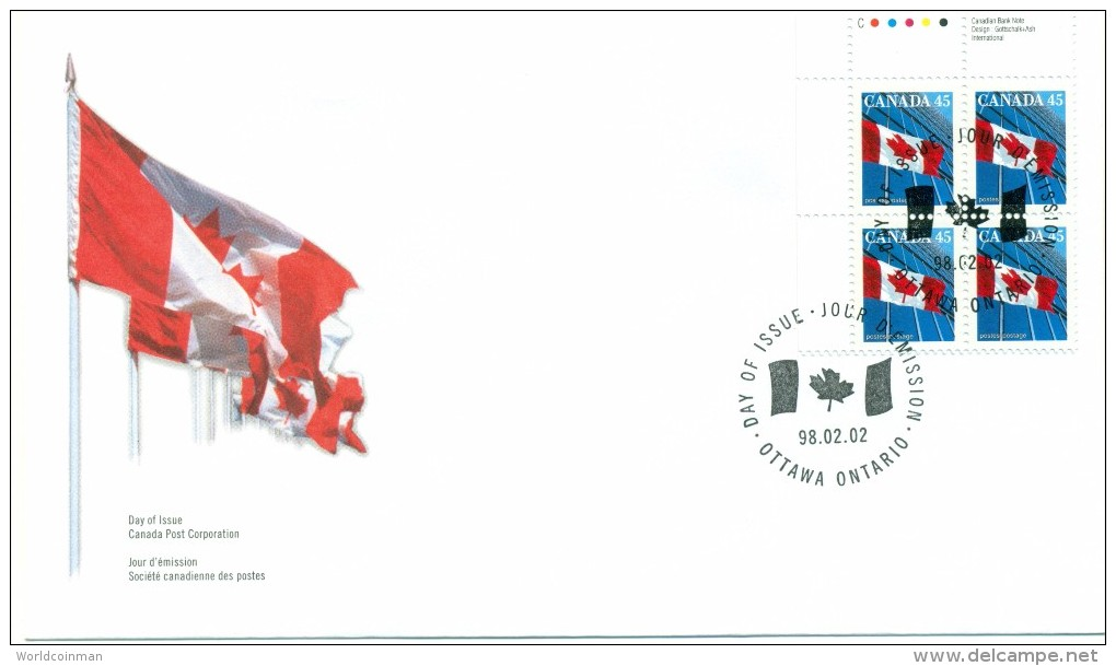 1998 Canada 45c Plate Block First Day Cover - 1991-2000