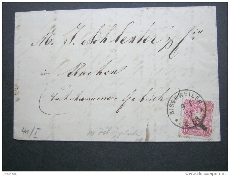 1881, BISCHWEILER  , Klarer Stempel   , Lettre - Alsace-Lorraine