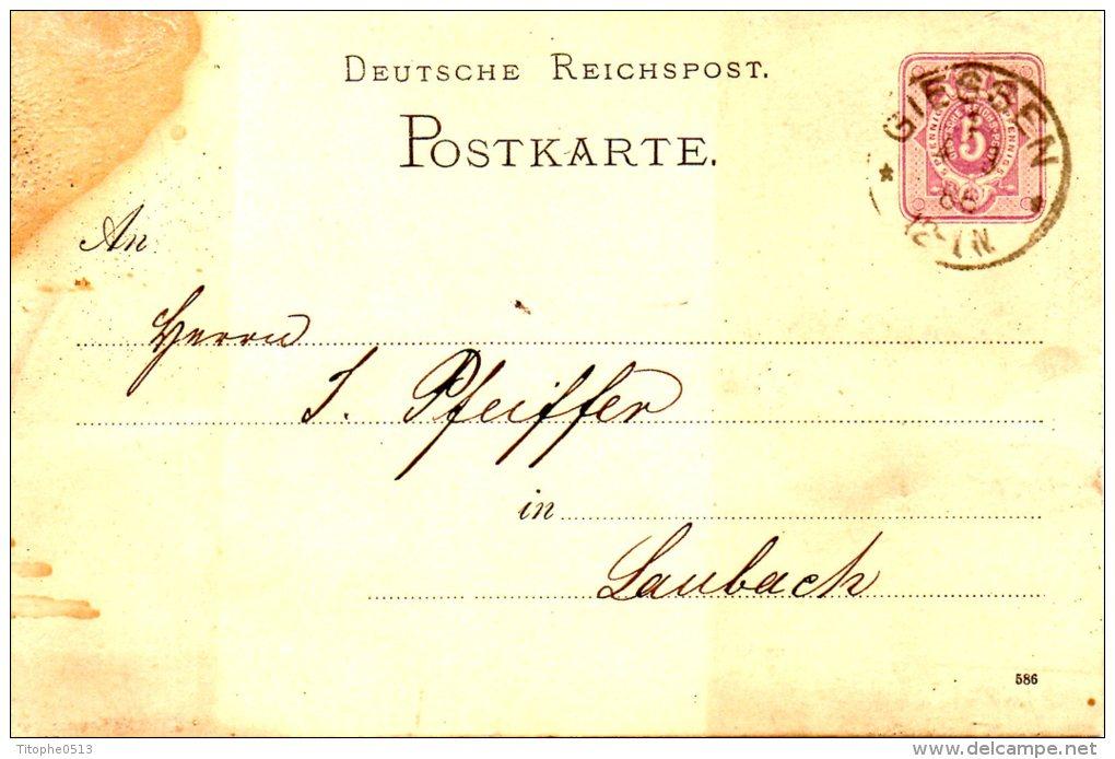 ALLEMAGNE. Carte Pré-timbrée Du N°37 Ayant Circulé En 1886. Oblitération : Giessen. - Briefe U. Dokumente