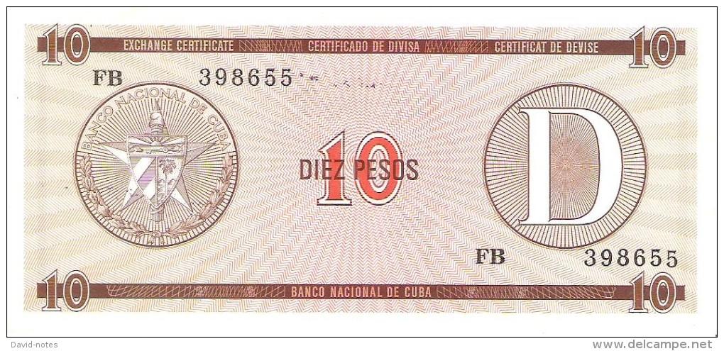 Cuba - Foreign Exchange Certificates - 10 Pesos Series D - XF - Cuba