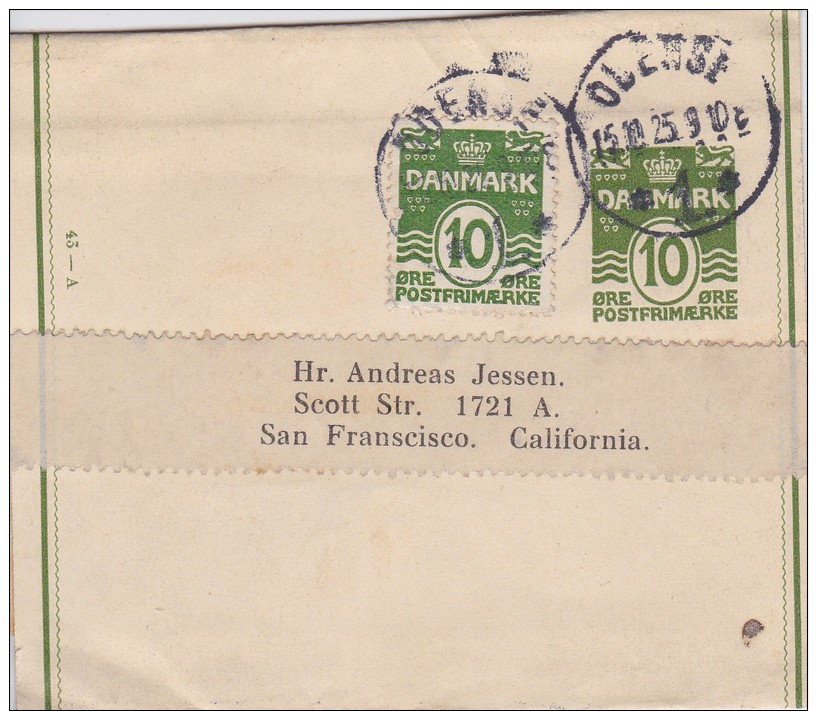 Denmark; Postal Wrapper  To USA Contr. No. 43-A - 1925 - Enteros Postales