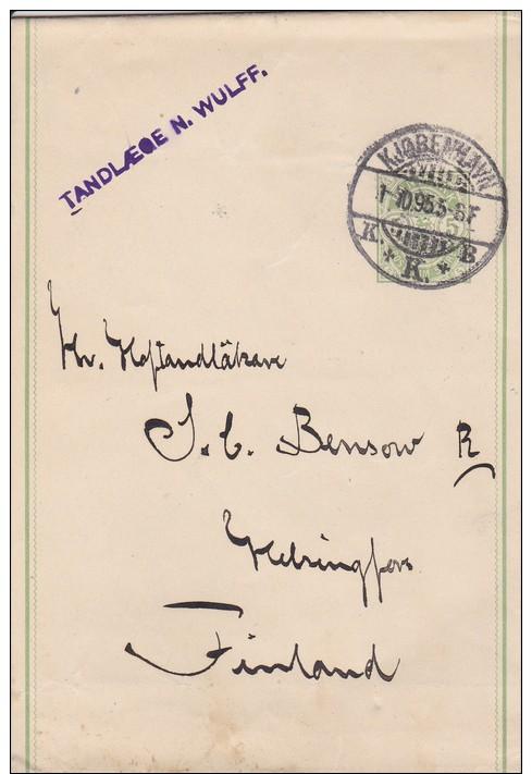 Denmark; Postal Wrapper To Finland 1895 - Enteros Postales