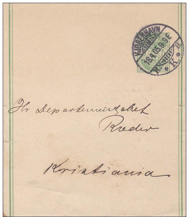 Denmark; Postal Wrapper To Norway 1905 - Enteros Postales