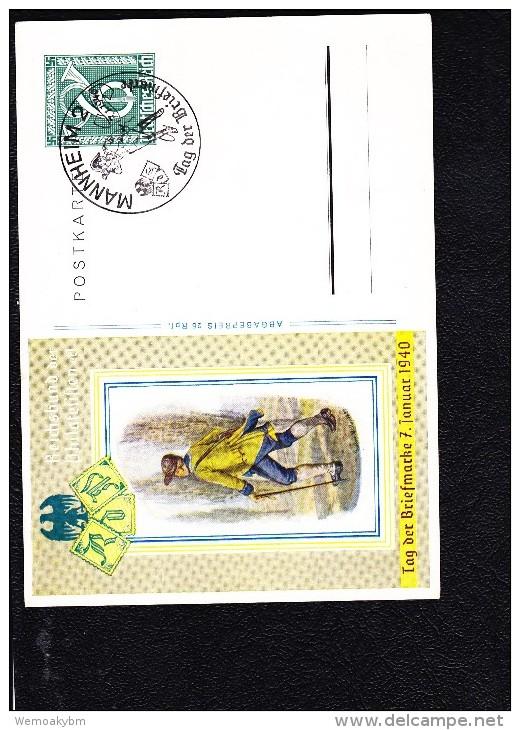 """DR 33-45: GS Postkarte 6 Pfg Zum """"Tag Der Briefmarke 1940"""" Mit SoSt. MANNHEIM Vom 7.1.1940 Unbeschriftet Knr: P 289 SSt. - Briefe U. Dokumente"""