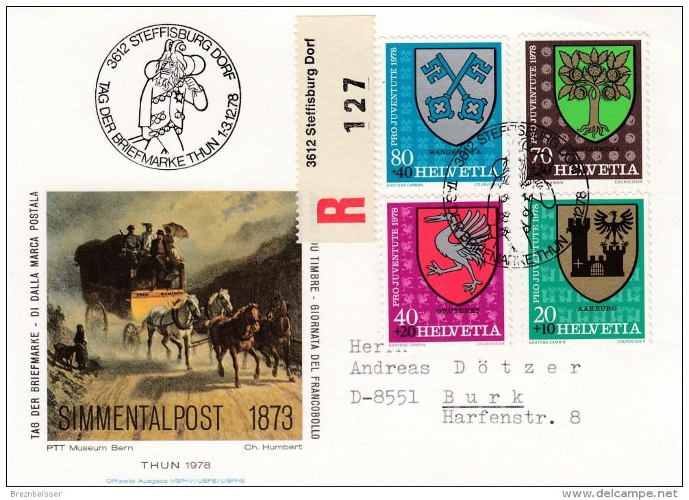 Schweiz : Tag Der Briefmarke 1978 - MiNr. 1142 / 1145      R-Karte - Gebraucht