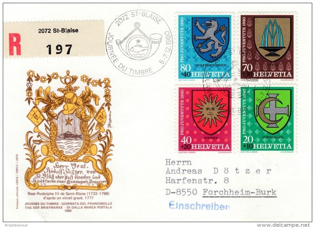Schweiz : Tag Der Briefmarke 1980 - MiNr. 1187 / 1190     R-Karte - Schweiz