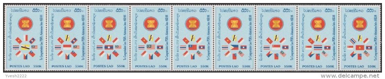 Laos 1998 Y&T 1311/9, Michel 1623A/31A, Scott 1359. Asean, Bande De 9. Drapeaux : Brunei, Thaïlande, Indonésie... - Stamps