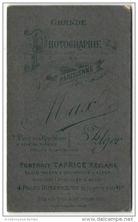 """Algérie-CDV-jolie Communinante-photo MAX, Pub Portrait """"Caprice""""-Alger Rue De La République-TB état - Photographs"""