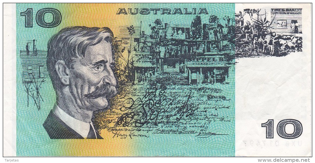 BILLETE DE AUSTRALIA DE 10 DOLLARS  DEL AÑO 1985 CALIDAD MBC (VF)  (BANKNOTE) - Emisiones Gubernamentales Decimales 1966-...