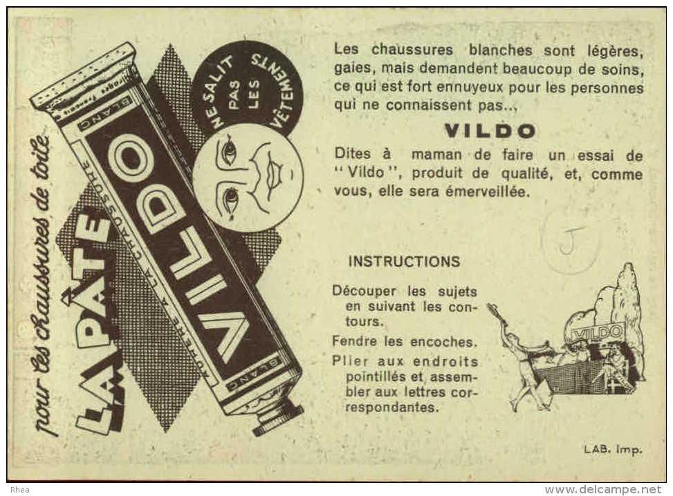 PUBLICITES -  Carte à Découper - CREME VILDO - Cirage - Illustrée Par EDOUARD BERNARD - Tennis - Publicités