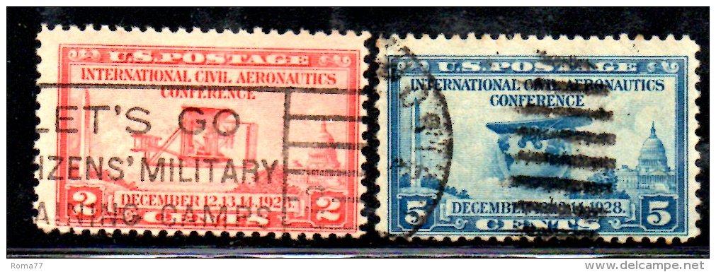Y1633 - STATI UNITI USA 1928 - Serie N. 455/456  Usato . Aviazione Civile - Usati
