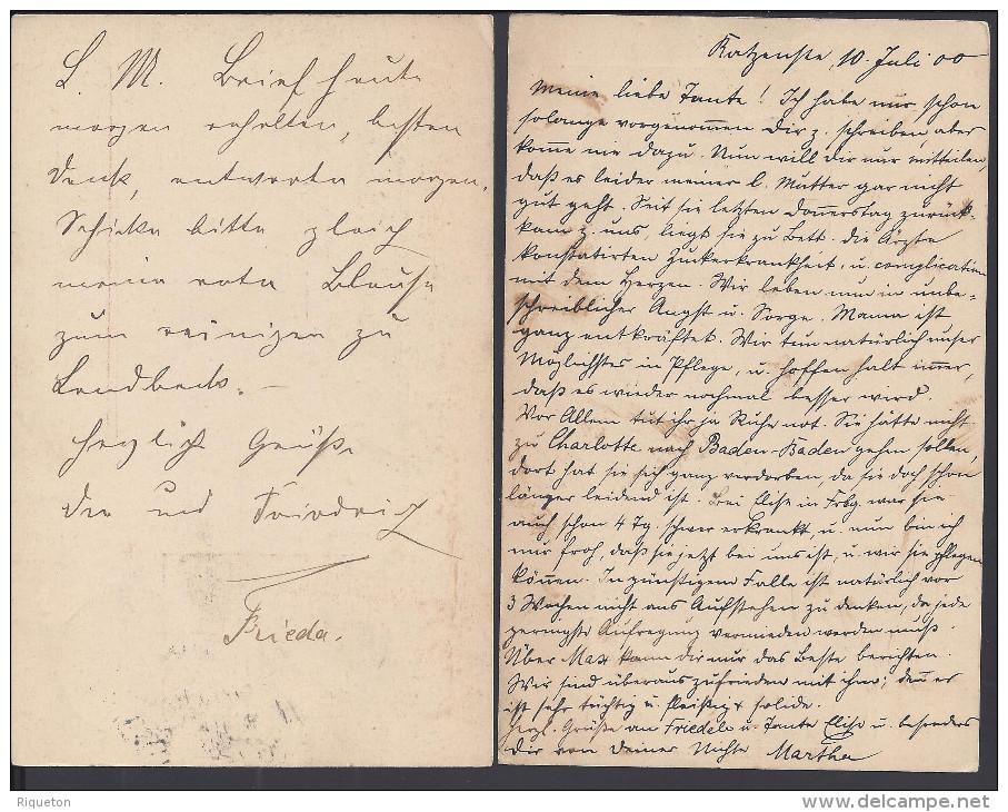 SUISSE - 1900 -  DEUX CARTES ENTIERS POSTAUX DE ZURICH A DESTINATION DE AUGSBURG - ALL - - Entiers Postaux