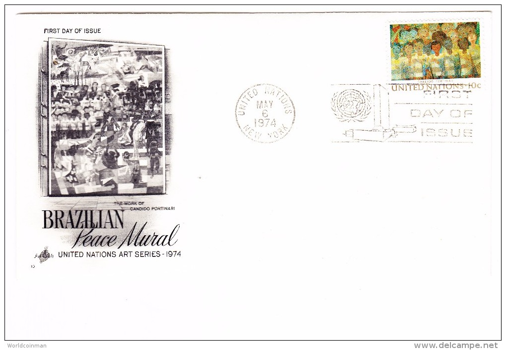 1974 United Nations Brazilian Peace Mural 10c First Day Cover - New York – UN Headquarters