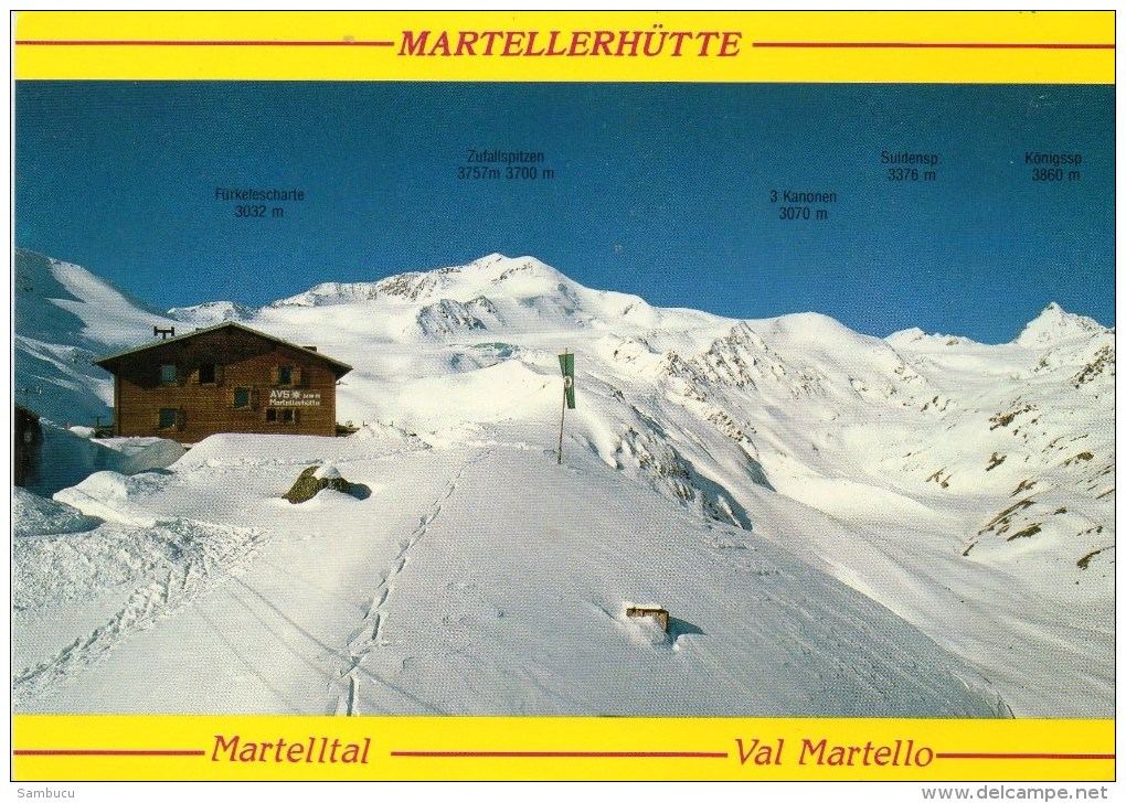 Marteller Hütte 2610 M  Martelltal Vinschgau 1994 Hüttenstempel Villgrater - Italien