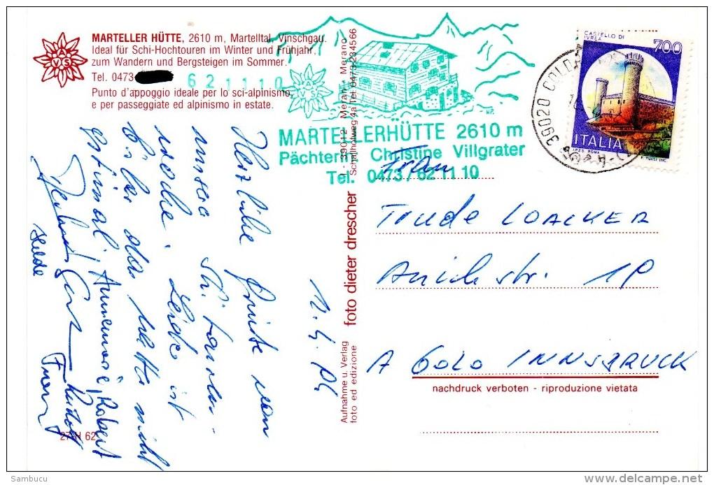 Marteller Hütte 2610 M  Martelltal Vinschgau 1994 Hüttenstempel Villgrater - Ohne Zuordnung