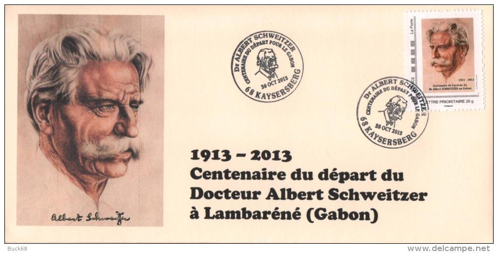 Cachet Temporaire + Timbre Personnalisé Albert SCHWEITZER Expo KAYSERSBERG 100 Ans Départ Gabon L1 - Albert Schweitzer