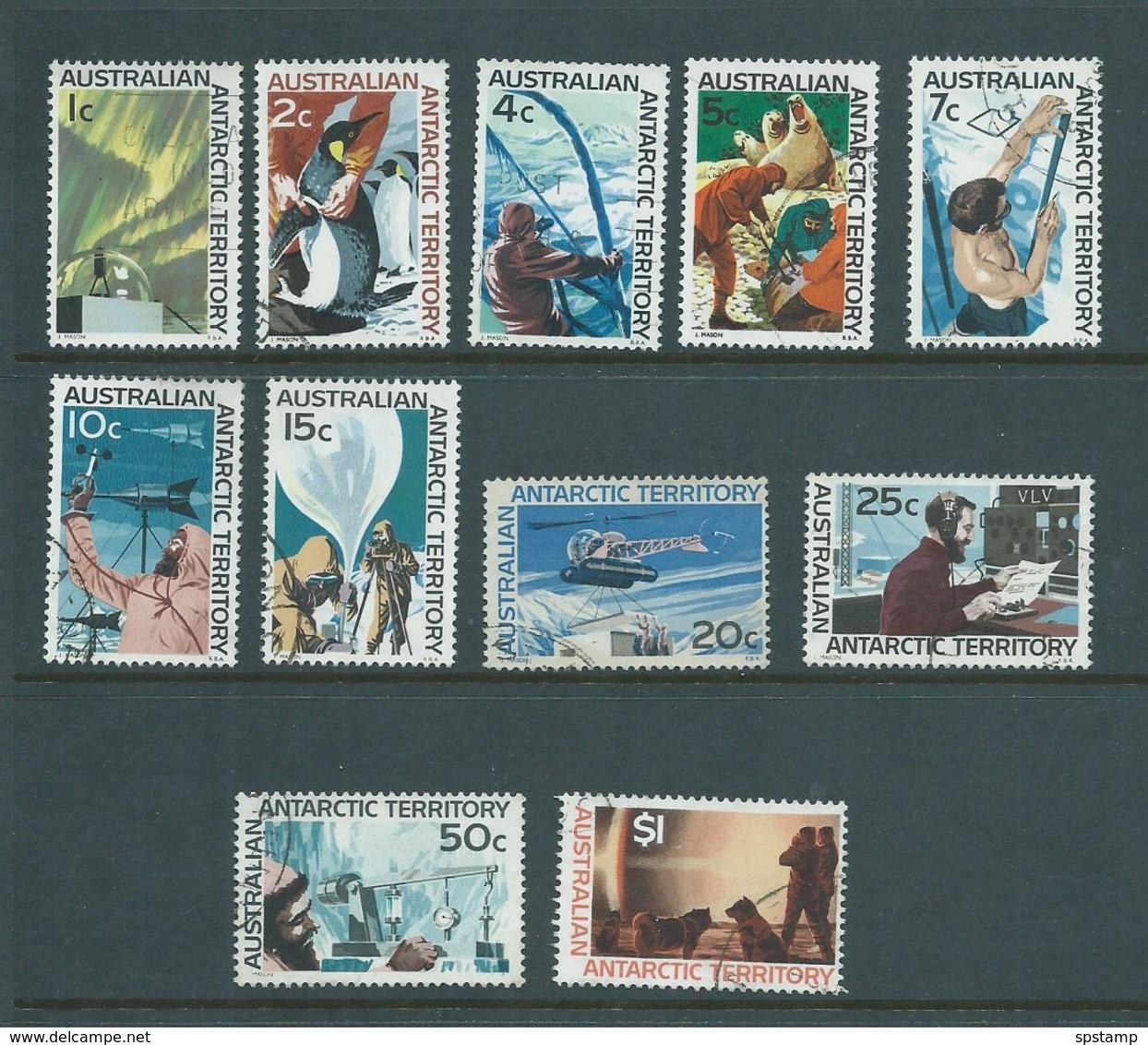 Australian Antarctic Territory 1966 Definitive Scenes Set 11 FU , 2 Lower Values Small Faults - Unused Stamps