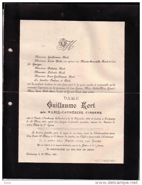 OOSTKAMP VAALS Marie-Catherine FINDERS épouse Guillaume KORT 1841-1897 Doodsbrief - Todesanzeige