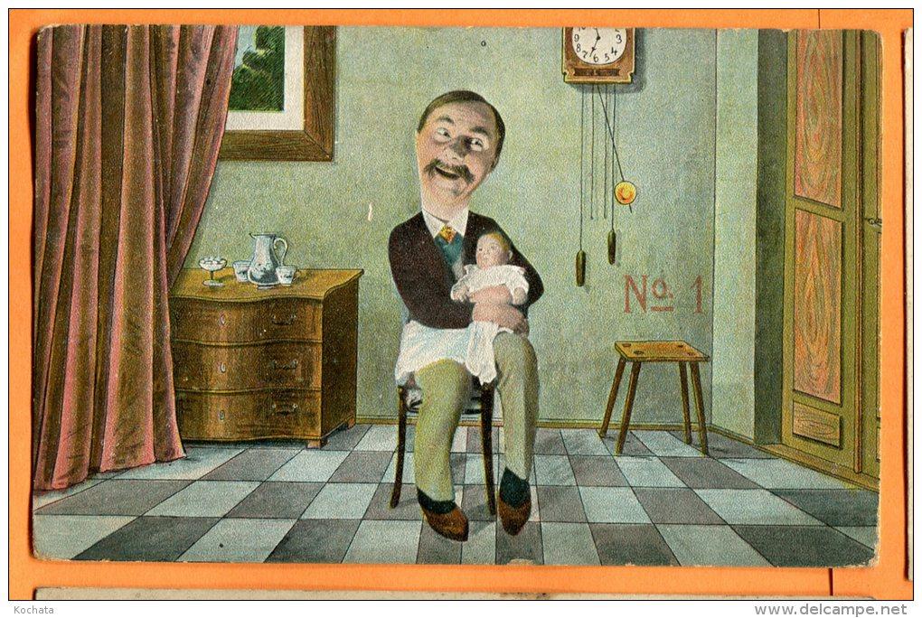 LOL066, Papa Et Bébé, Pendule , Horloge, Circulée 1906 - Neonati