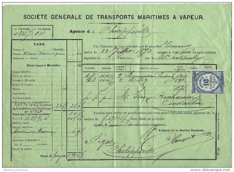 NAVIRE NAVIGATION  COMMERCE MARITIME 1873 De  ROUEN Pour PHILIPPEVILLE ALGERIE   V.SCANS+HISTORIQUE - ... - 1799