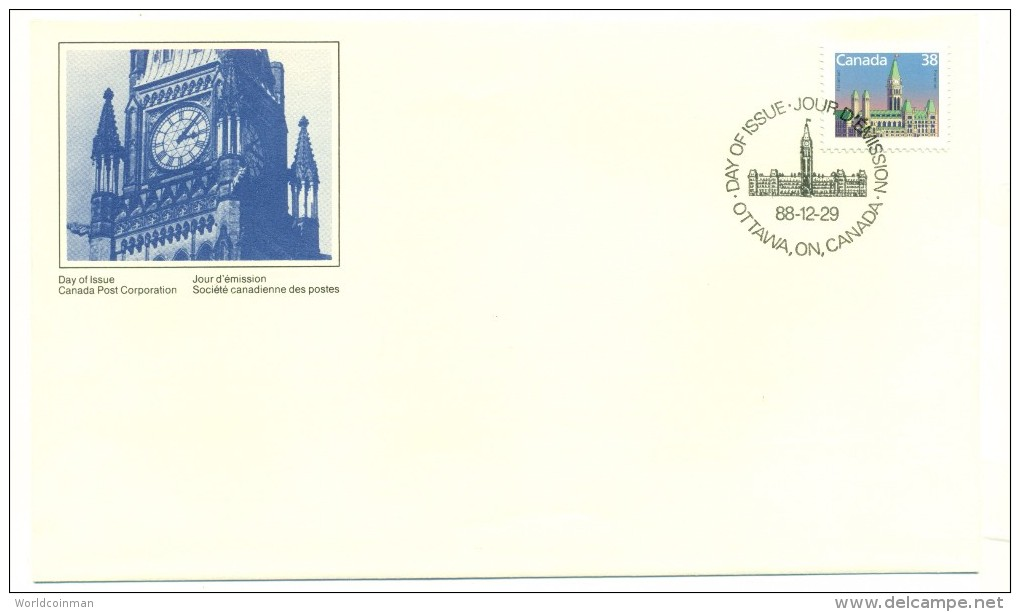 1988 Canada Parliament Buildings Definitive 38c First Day Cover - First Day Covers