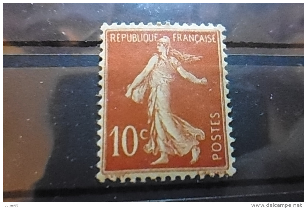 Timbre 10c Rouge Neuf FRANCE 1906 Semeuse Fond Plein Yt 135 - 1906-38 Semeuse Camée