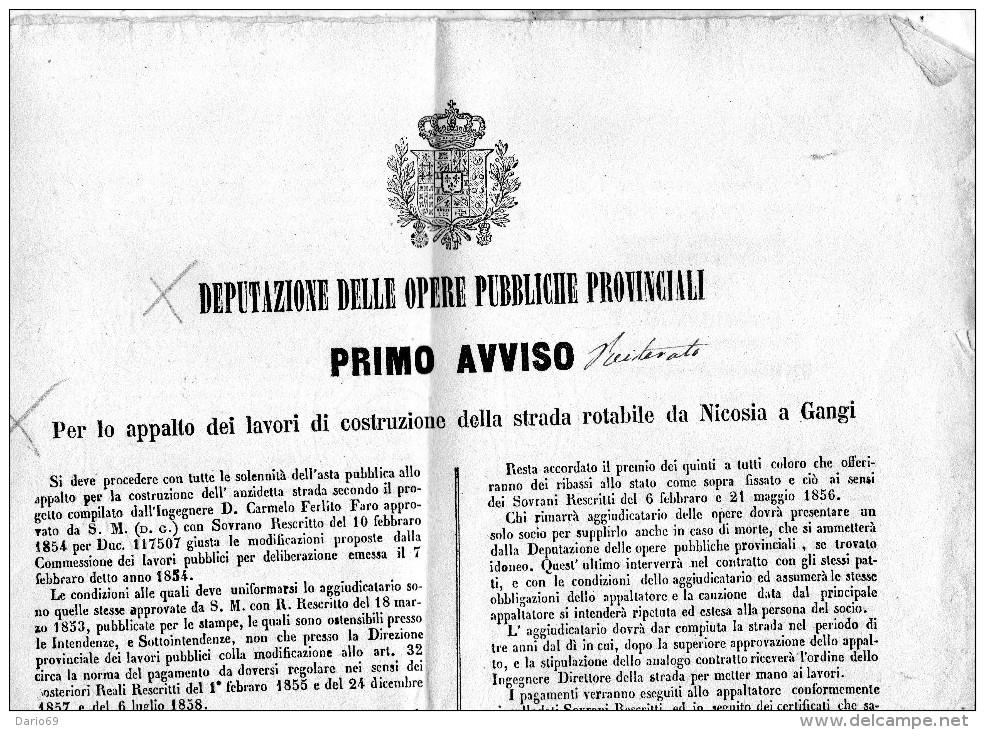 1859 CATANIA AVVISO PER LA COSTRUZIONE DELLA STRADA ROTABILE DA NICOSIA A  GANGI - Ferrovie