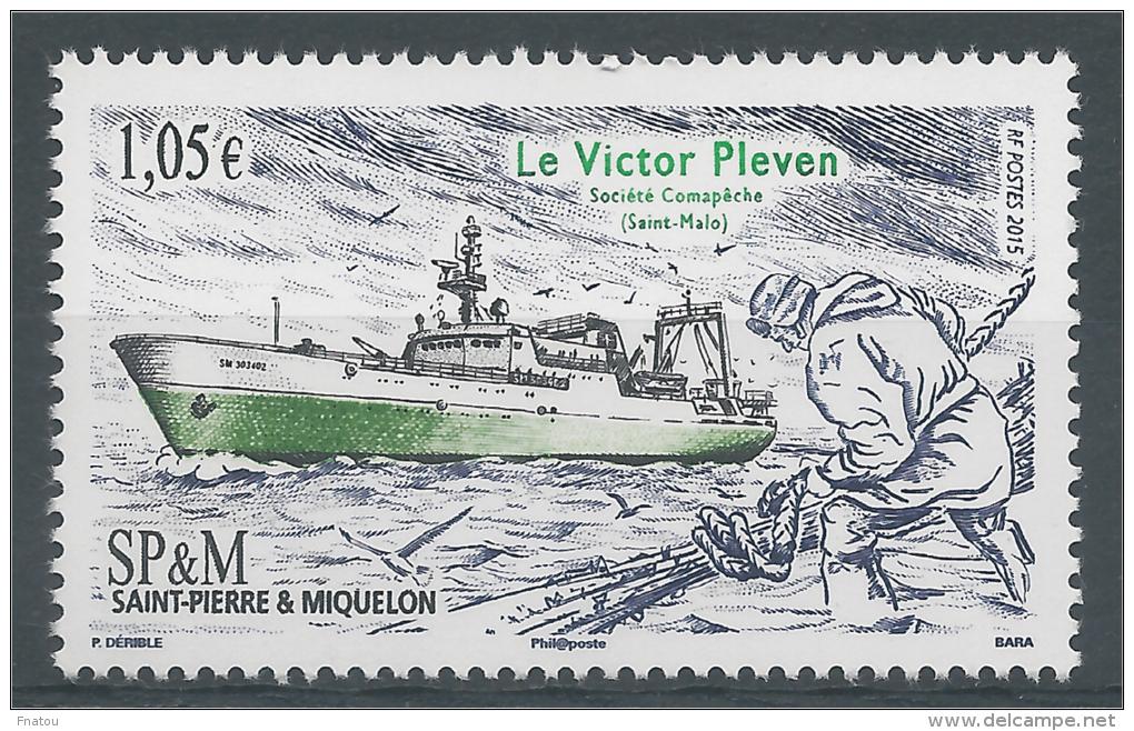 """Saint Pierre And Miquelon, Ship, Le """"Victor Pleven"""", 2015, MNH VF - St.Pierre & Miquelon"""