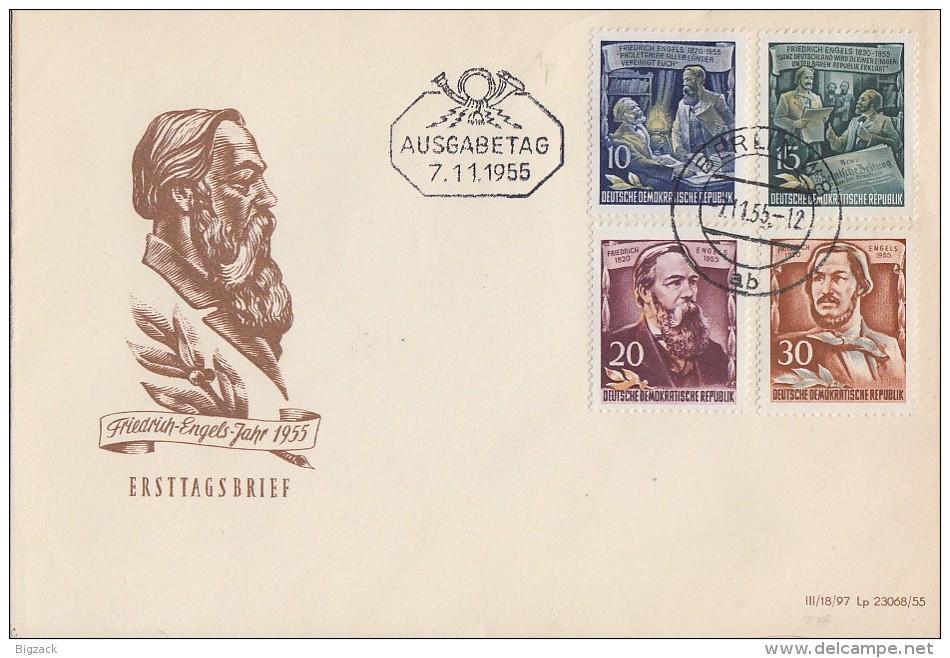 DDR Brief Minr.486,487,488, 489 Berlin 7.11.55 FDC - DDR