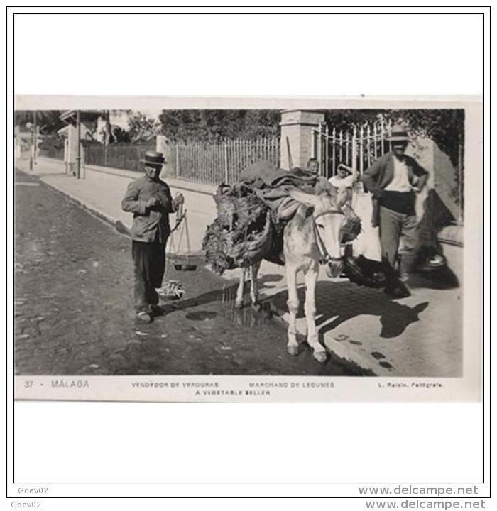 MLGTP1564CPA-LFTD4962TCSC.Tajeta Postal De Malaga.Casas Con Rejas,burro Cargado Y VENDEDOR AMBULANTE.Malaga - Non Classificati
