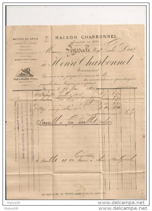 FACTURE ,,,MAISON  CHHARBONNEL , LAINES Et COTONS , PARIS,,,,1892,,, - France