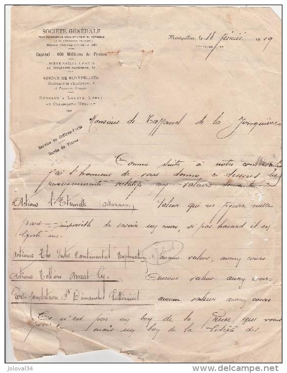 """Bordereau De La Société Générale Montpellier Hérault 1919 Liste D'actions """" Aucune Valeur """" Service Coffres Forts Titres - Chemin De Fer & Tramway"""