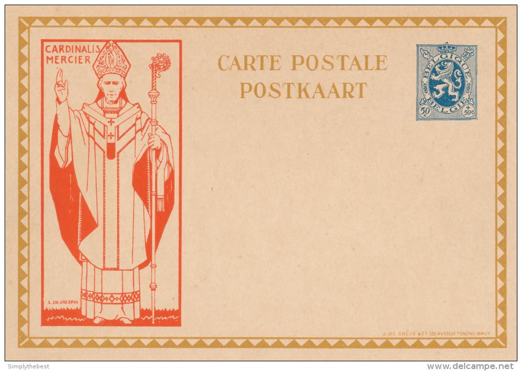 Carte Illustrée Cardinal Mercier 50 C - Non Utilisée  --  XX118 - Stamped Stationery
