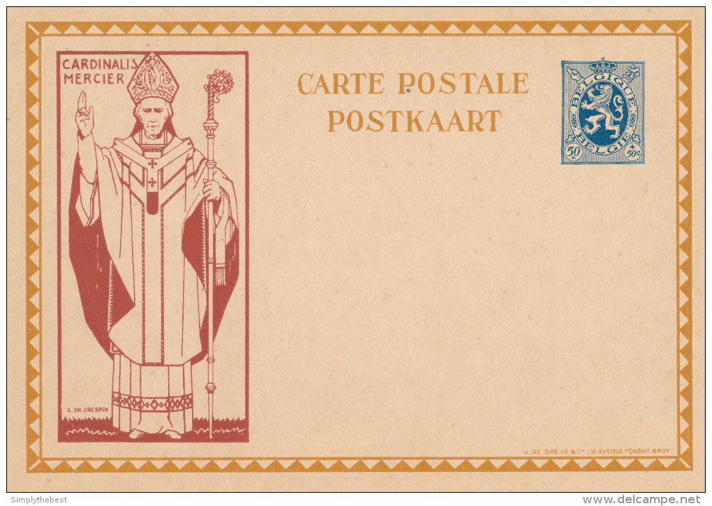 Carte Illustrée Cardinal Mercier 50 C - Non Utilisée  --  XX119 - Stamped Stationery
