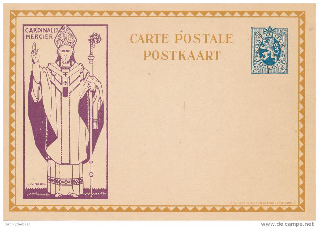 Carte Illustrée Cardinal Mercier 50 C - Non Utilisée  --  XX121 - Entiers Postaux