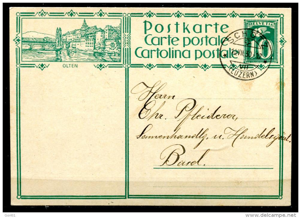 """Schweiz 1930 Bildpostkarte Mi.Nr.P127 ,10 Rappen Grün""""Olten""""bef.""""Schötz-Basel  """"1 GS Used,bef. - Interi Postali"""