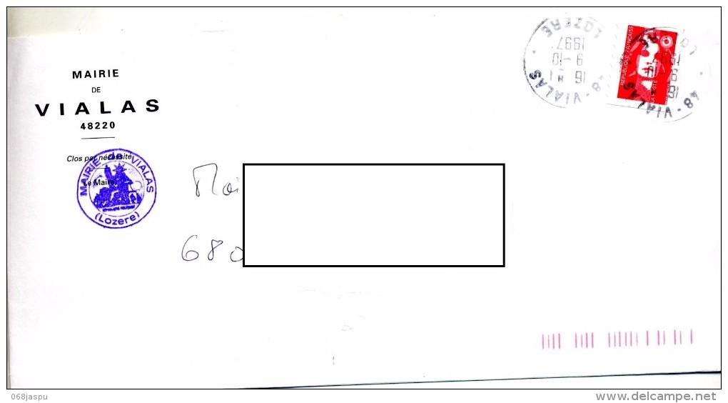 Lettre Cachet Vialas  Entete Mairie - Marcophilie (Lettres)