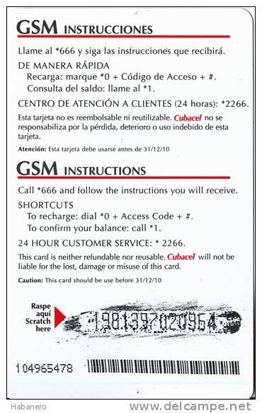 2007 - CUBACEL PREPAID CARD - 10 CUC - Cuba