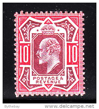 Great Britain MH Scott #137 10p Edward VII, Carmine & Dull Purple - Neufs